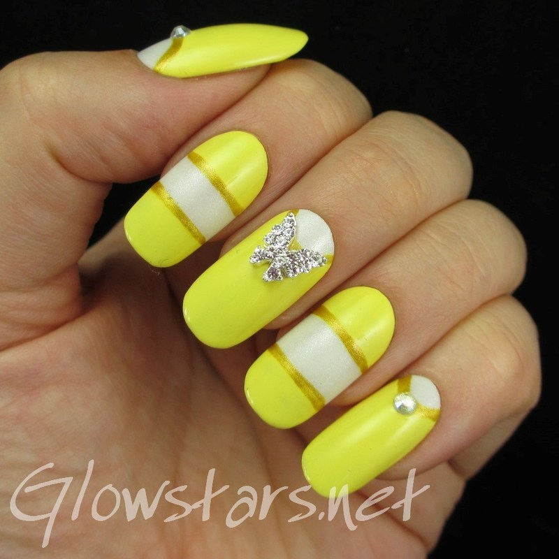 Color blocking and butterfly charms nail art by Vic 'Glowstars' Pires