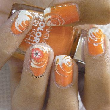 Orange Candy Swirl nail art by Nailz4fun