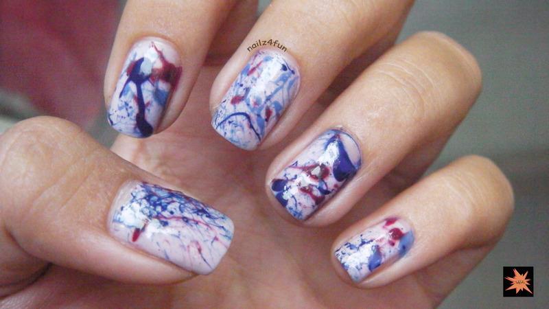 splatter nails nail art by Nailz4fun