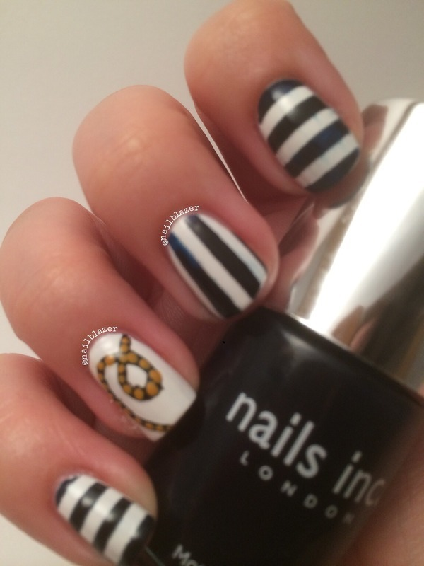 #31DC2014 Day 12 - Stripes nail art by Nailblazer