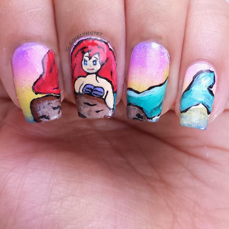 Little Mermaid nail art by Rose Mercedes