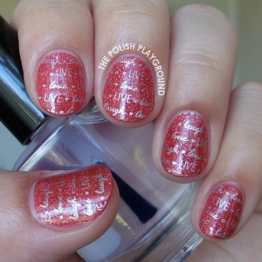 OPI DS Tapestry with Silver Live, Laugh, Love Stamping nail art by Lisa N