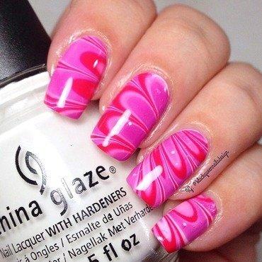 Pink Watermarble  nail art by Blackqueennailsdesign
