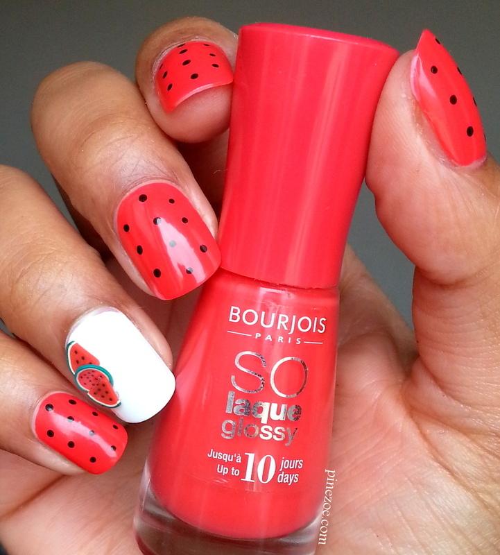 Easy Watermelon nail art nail art by Pinezoe