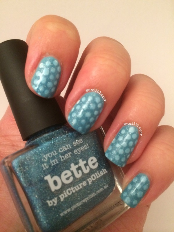 Polka Blue nail art by Nailblazer
