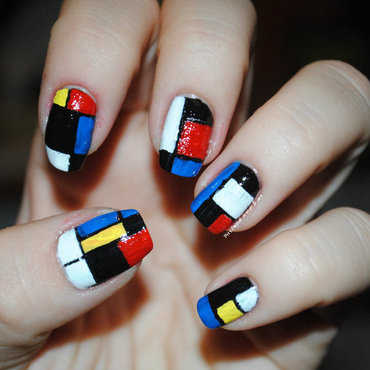 Mondrian  nail art by Ditta