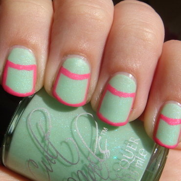 Outlined Half Moons nail art by Elin The Cupcake Cat