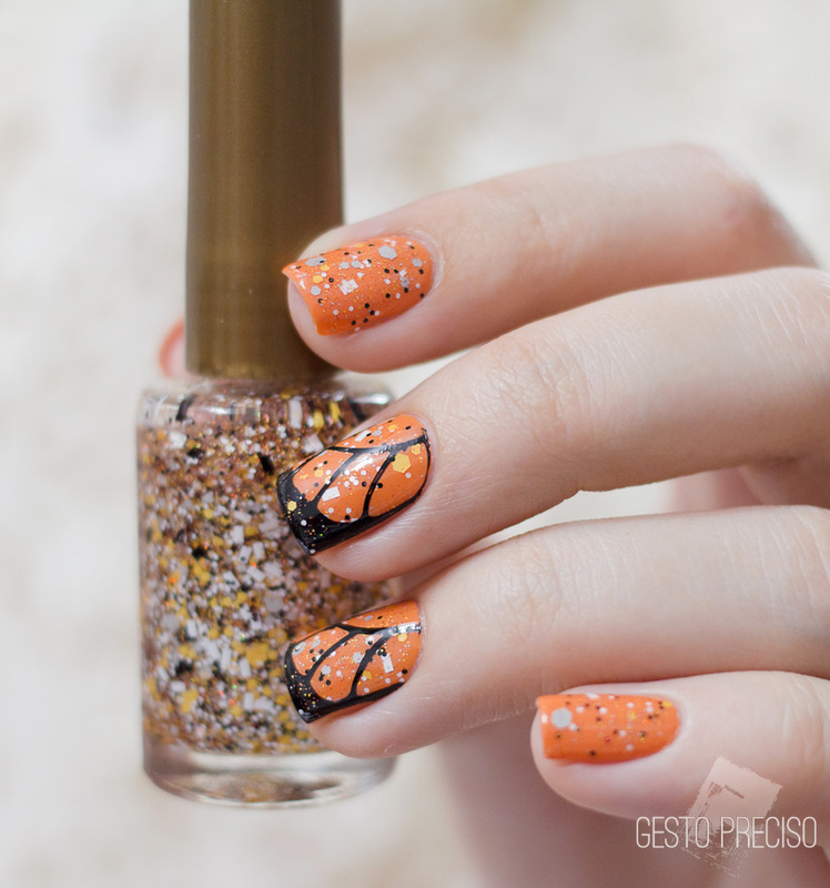 Monarch butterfly nail art by Gi Milanetto