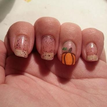 September challenge day 30 Pumpkin  nail art by KiboSanti