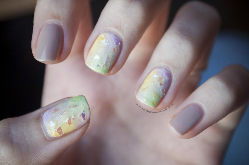 pastel gradient nail art by Jule