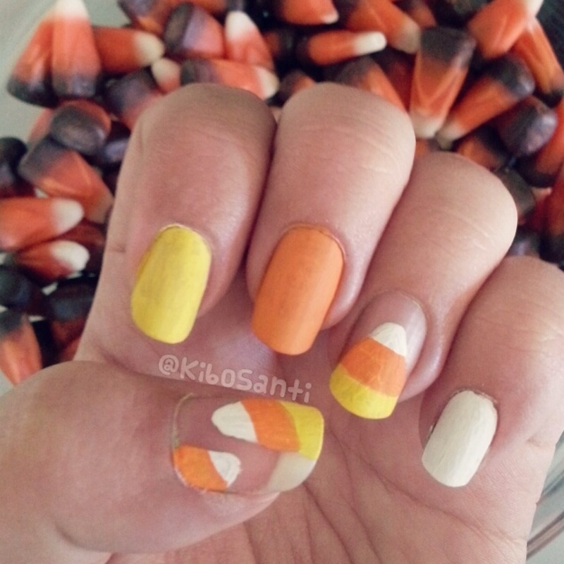 October challenge day 1 Candy Corn  nail art by KiboSanti