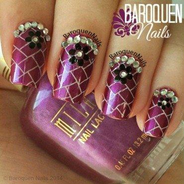 Rhinestone Flower nail art by BaroquenNails