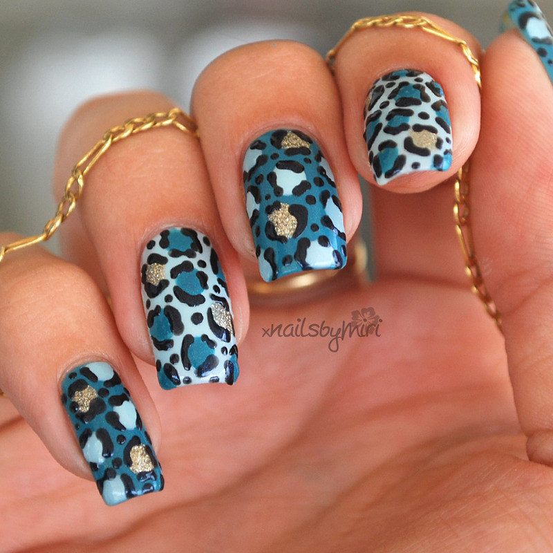 Blue leopard print nail art by xNailsByMiri