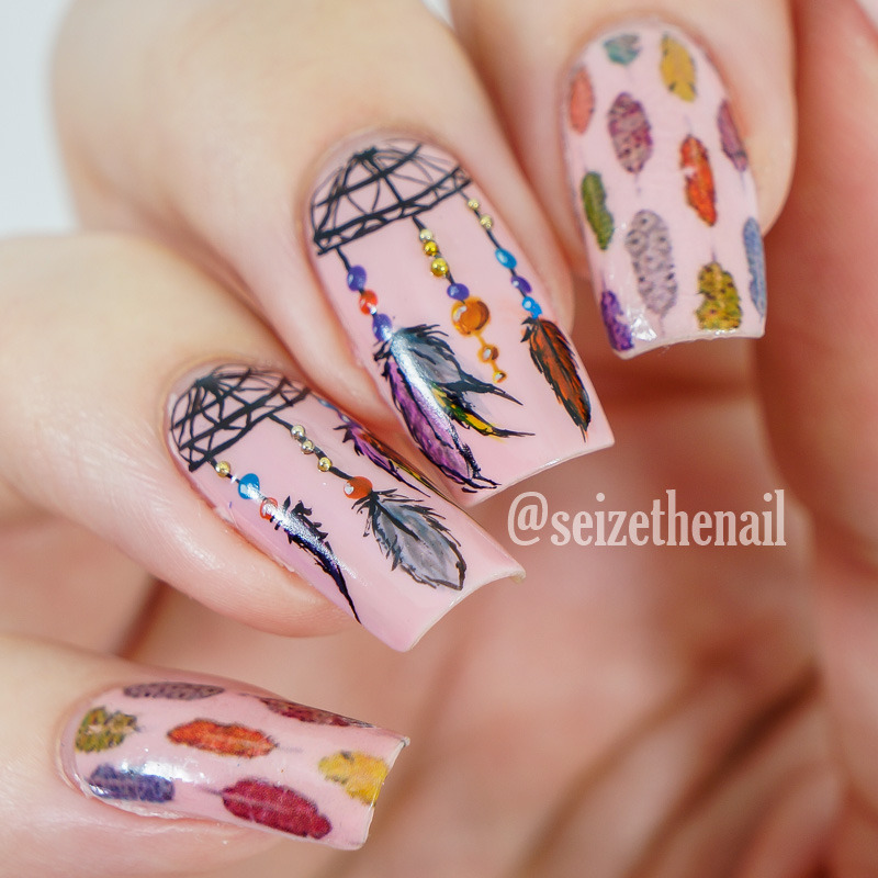 Dream catcher nails nail art by Bella Seizethenail