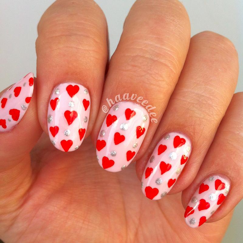 Heart nails nail art by haaveedee (Hanne)