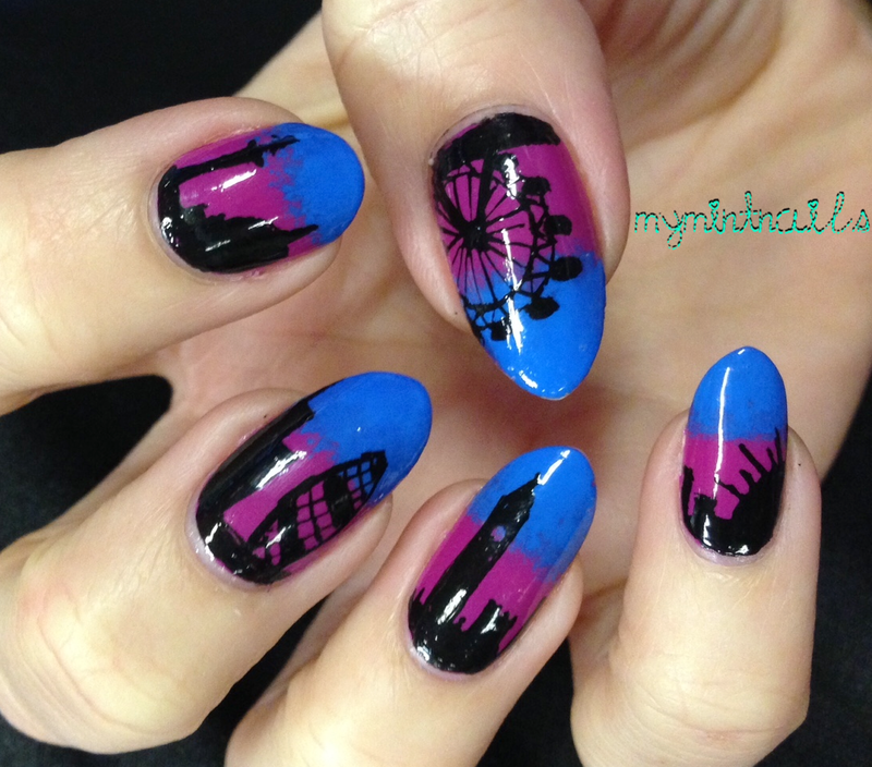 London Skyline nail art by MyMintNails