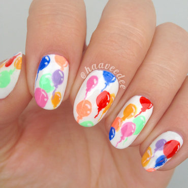 Birthday balloons nails nail art by haaveedee (Hanne)