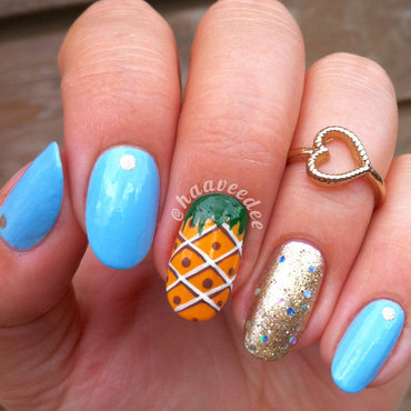 Pineapple nails nail art by haaveedee (Hanne)