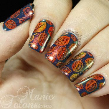 Fall Leaves and Shift Happens nail art by ManicTalons
