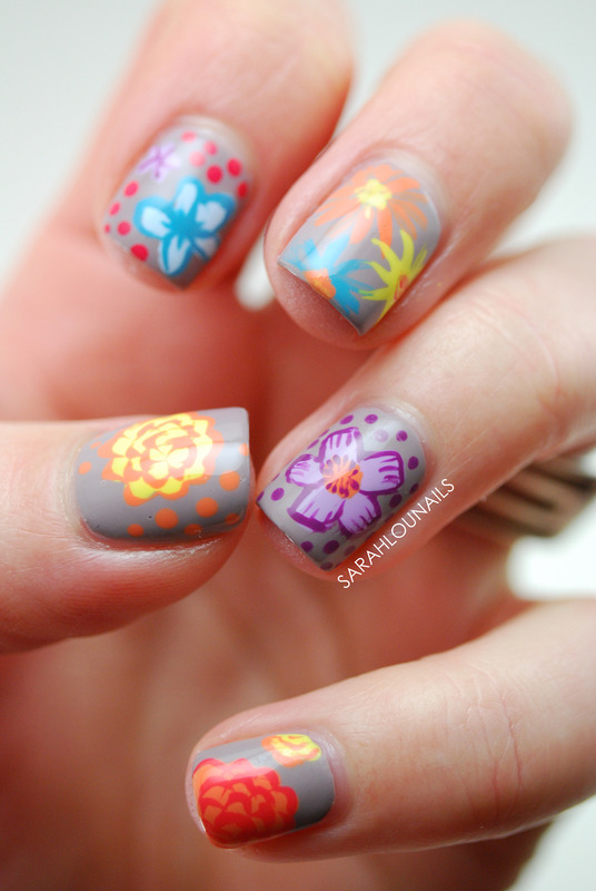 Funky Floral Nails! nail art by Sarah S