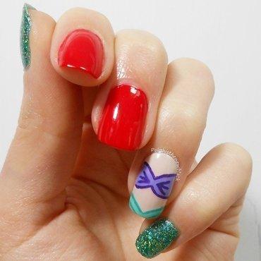 Little Mermaid Mani  nail art by Polishisthenewblack