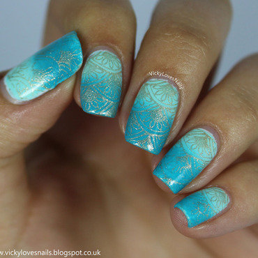 Teal Gradient with Stamping nail art by Vicky Standage