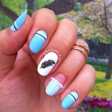 Matte feather nails nail art by haaveedee (Hanne)