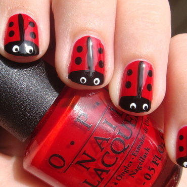 Ladybugs nail art by Elin The Cupcake Cat