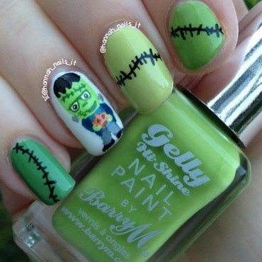 Franken-fingers! nail art by Hannah
