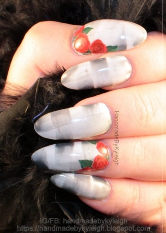 Grungy Roses nail art by  Kyleigh  'Handmade By Kyleigh'