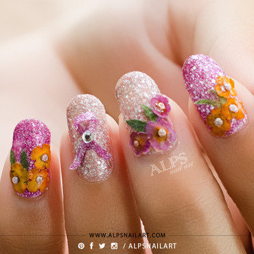 Breast Cancer Awareness Nails by @alpsnailart nail art by Alpsnailart