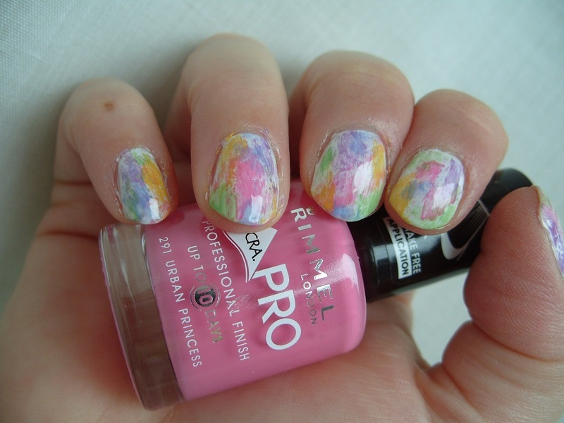 Watercolor Manicure nail art by Lina-Elvira