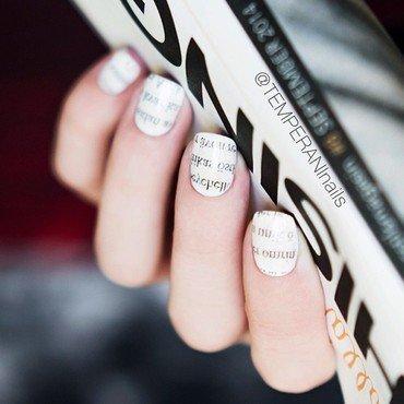 Newspaper nail art by Temperani Nails