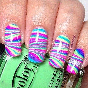Neon Watermarble  nail art by Blackqueennailsdesign