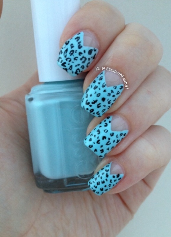 Blue leopard print! nail art by PolishIsSweet