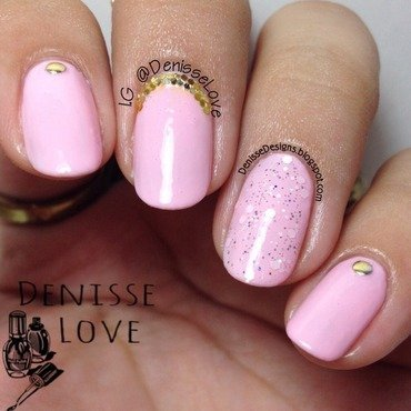 Pink + Gold nail art by Denisse Love