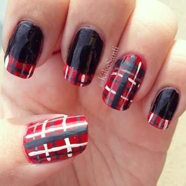 October challenge day 3 plaid nail art by KiboSanti
