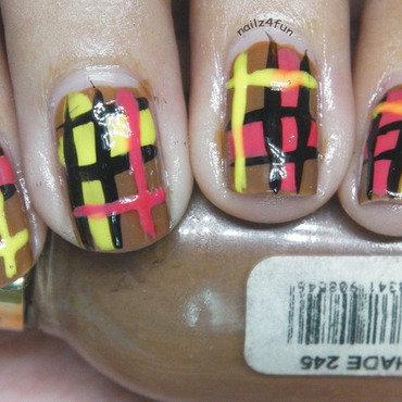 Fall Plaid print nail art by Nailz4fun
