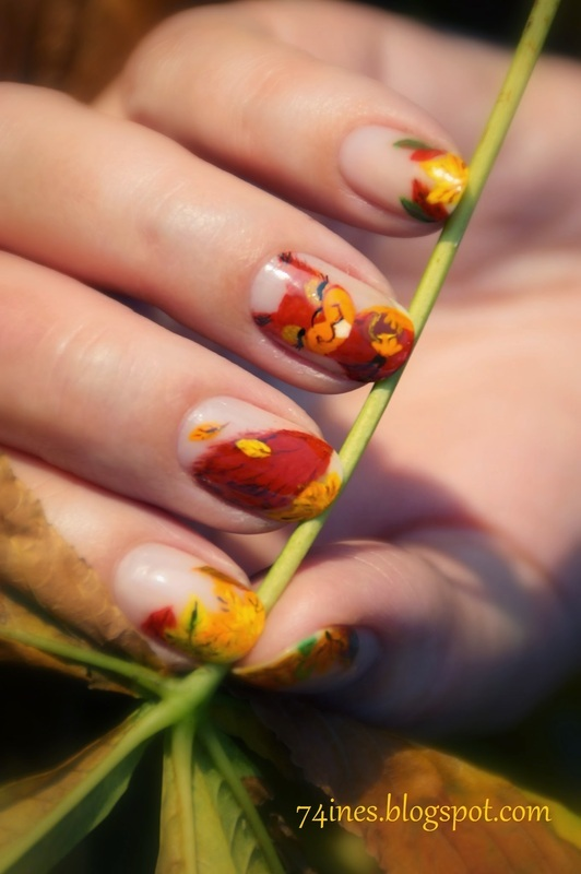 Autumn Leaves nail art by 74ines