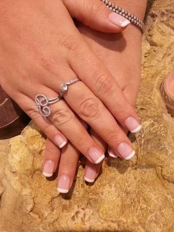 French white with baby pink classic and natural nail art by Irina