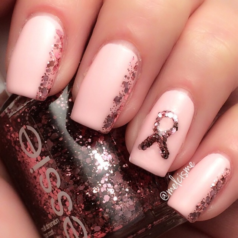 Pink Ribbon Nails nail art by Melissa - Nailpolis: Museum of Nail Art
