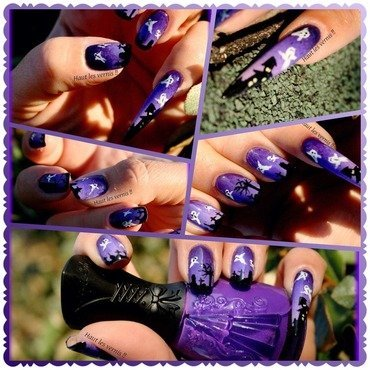 Purple Halloween  nail art by Elodie Mayer