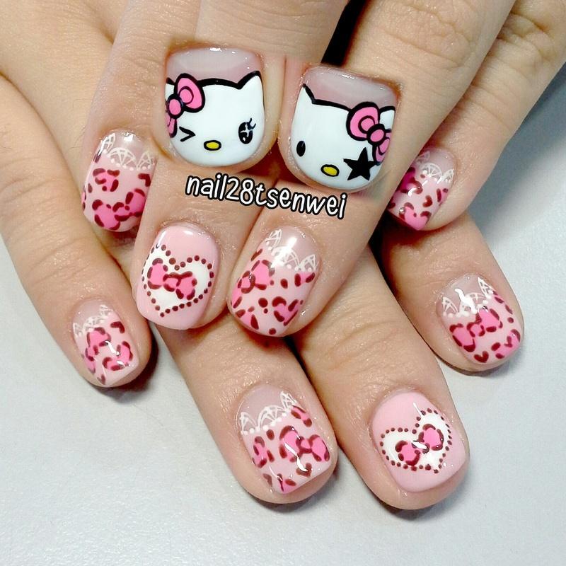 HelloKitty nail art by Weiwei