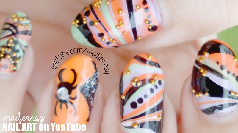 Water Marble Halloween Nail Art Nail Art By Madjennsy Nail Art