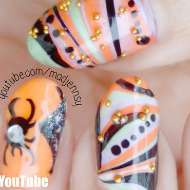 Water Marble Halloween Nail Art nail art by madjennsy Nail Art