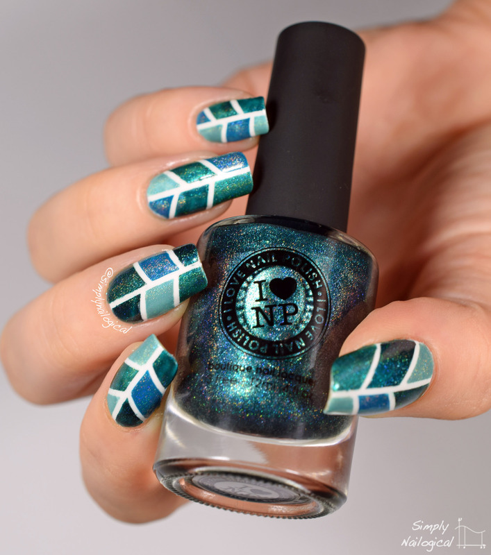 Teal holo colour-blocking nail art by simplynailogical