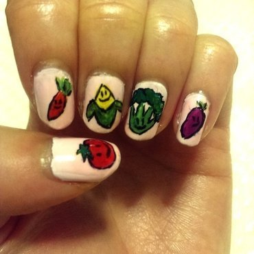 Vegetable nails :)  nail art by Erica