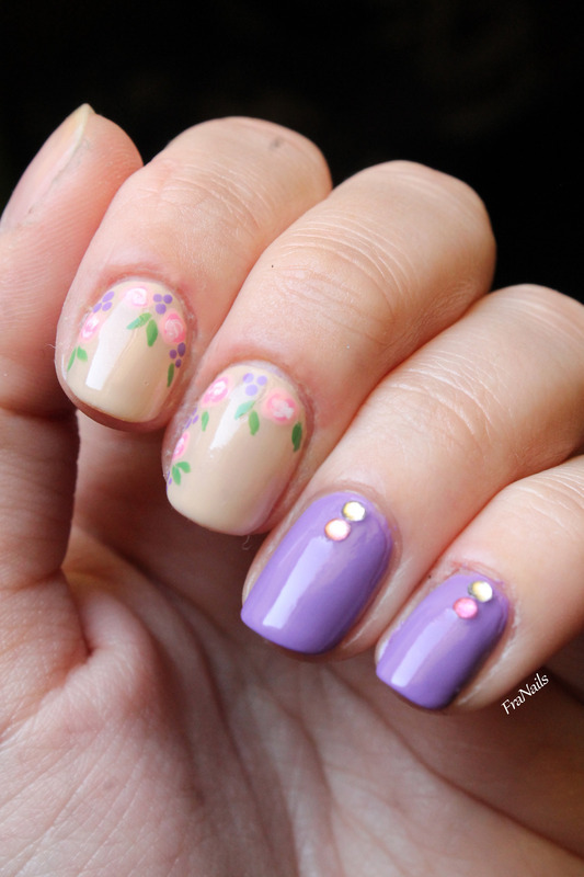 Delicate roses ispired by NailDecor nail art by Fran Nails