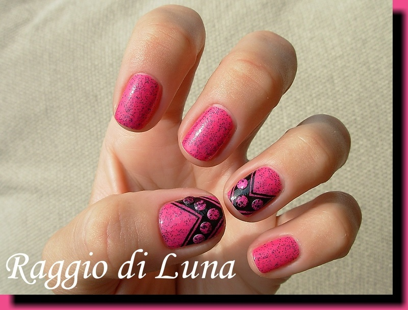 Pink & black chevron manicure with crackle nail art studs nail art by Tanja