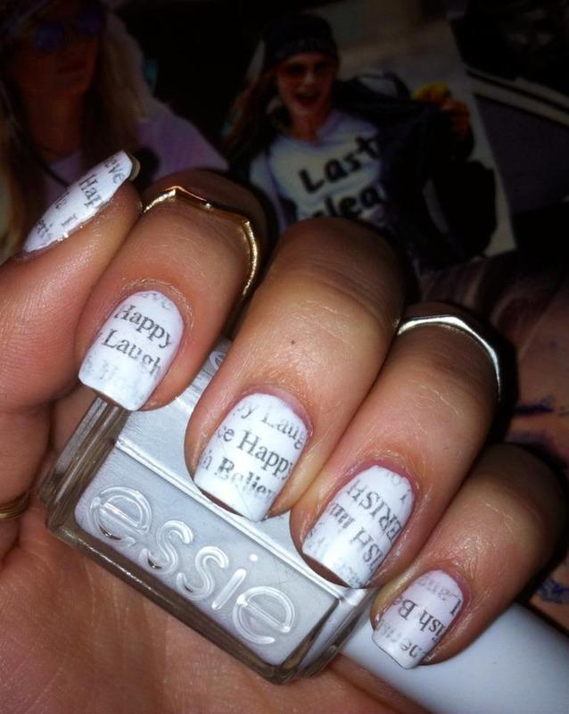 newspaper nails nail art by Viki J. - Nailpolis: Museum of Nail Art